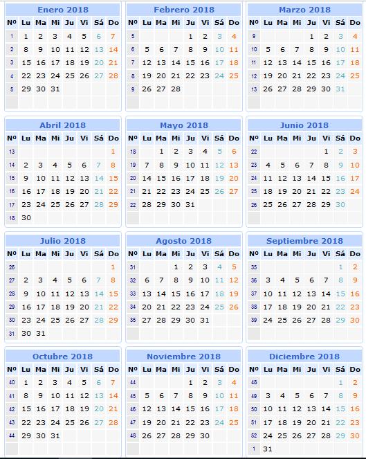 imprimir calendario 2018