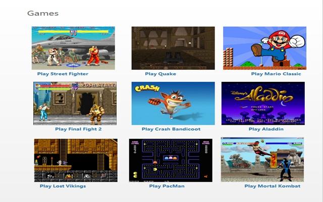 videojuegos de los 80s y 90s en Chrome
