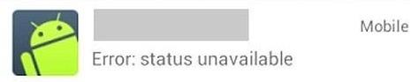 """Error Status Unavailable"" de WhatsApp"