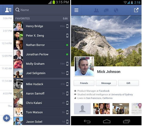 Facebook para Android versión nativa