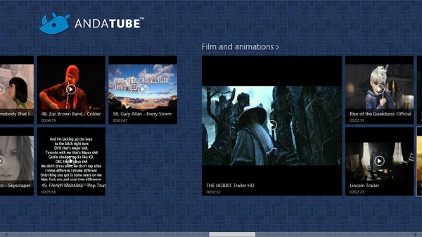 andatube cliente de YouTube para Windows 8
