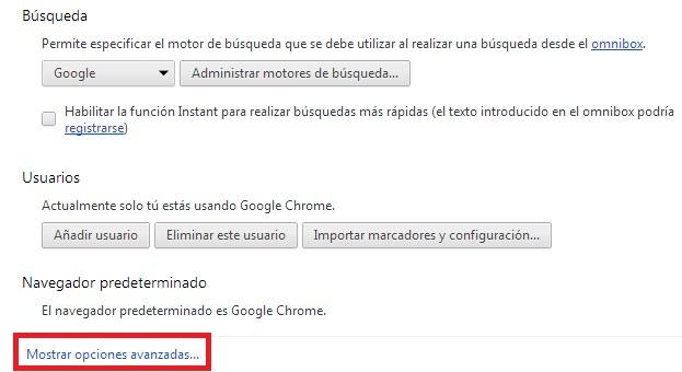 borrar datos de navegación en Chrome