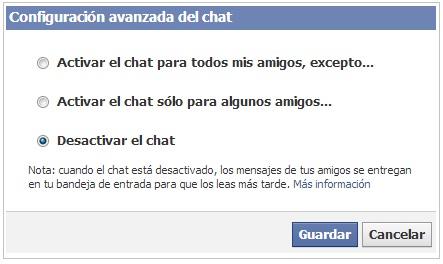 Configuración chat de Facebook