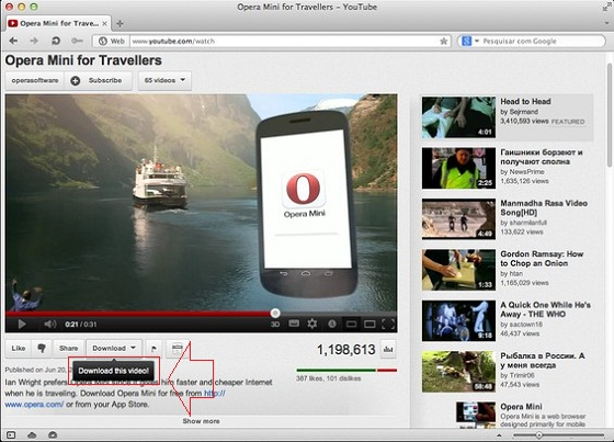 Descargar videos de YouTube en Opera