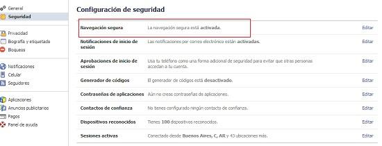 Navegación segura en Facebook