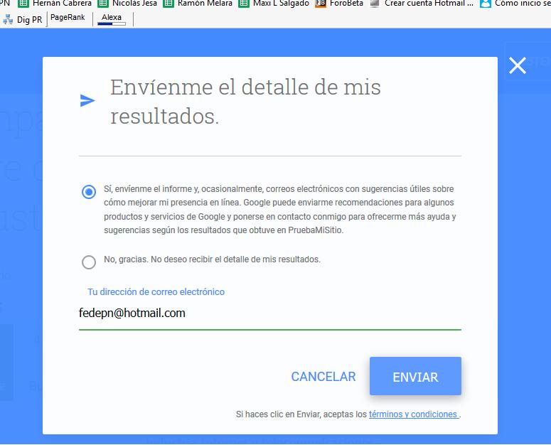 Test de velocidad de Google