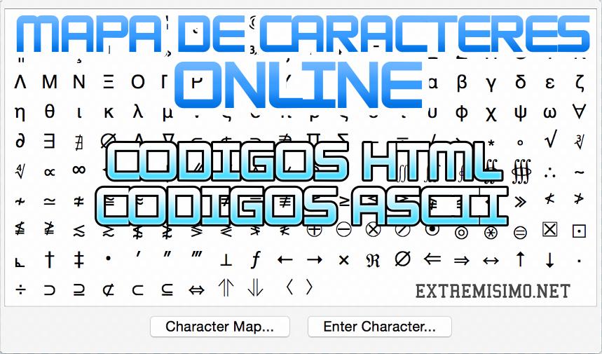 mapa de caracteres online