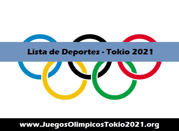 Lista de Deportes Juegos Olímpicos Tokio 2021